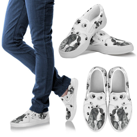 Valentine's Day Special-English Springer Spaniel Print Slip Ons For Women-Free Shipping