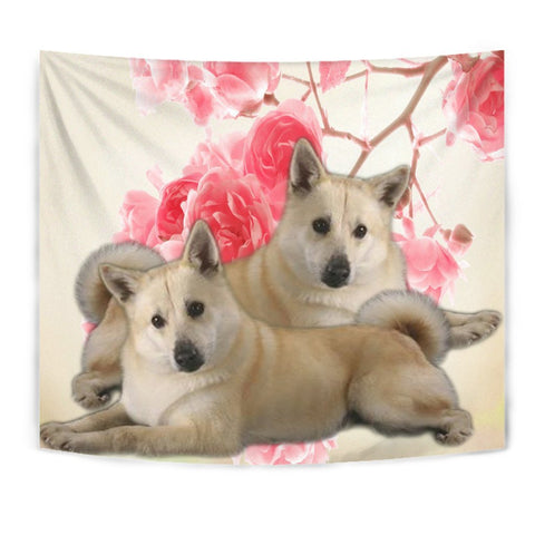 Norwegian Elkhound On Flower Print Tapestry-Free Shipping