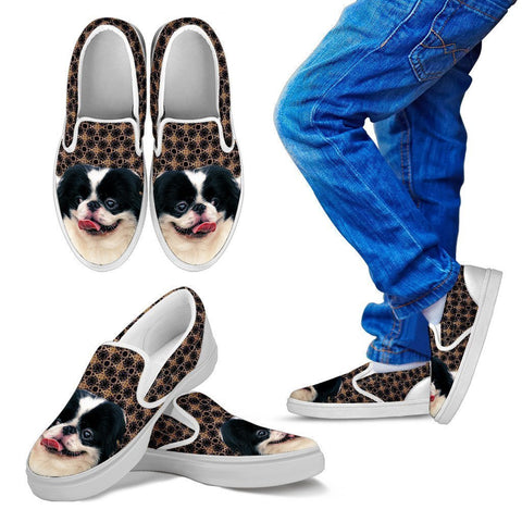 Japanese Chin Print Slip Ons For Kids-Free Shipping-Paww-Printz-Merchandise