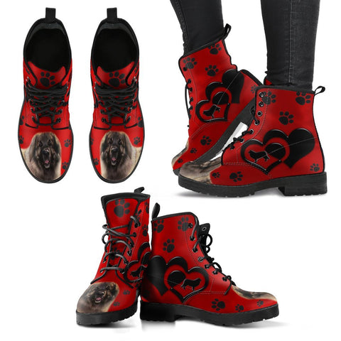 Valentine's Day Special-Leonberger Dog Red Print Boots For Women-Free Shipping
