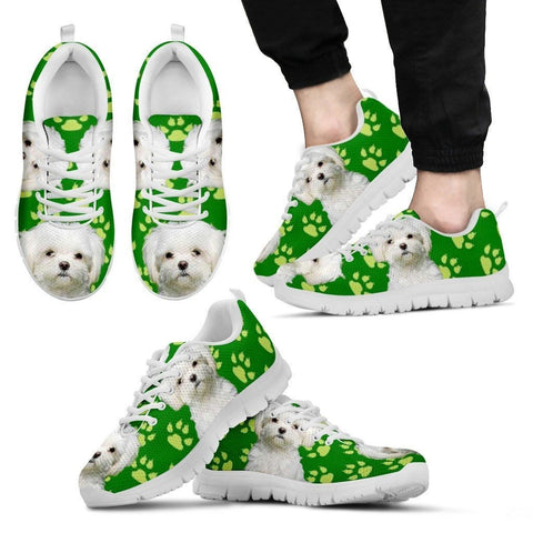 Paws Print Maltese (Black/White) Running Shoes For Men-Limited Edition-Express Delivery