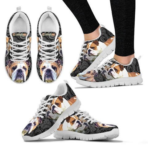 Bulldog On Black-Women's Running Shoes-Free Shipping