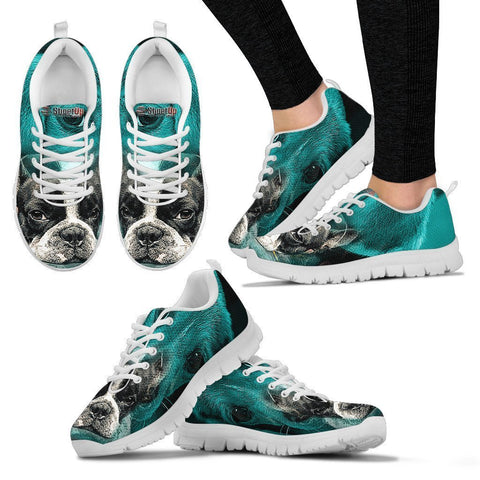 Boston Terrier On Deep Skyblue Print Sneakers For Women- Free Shipping