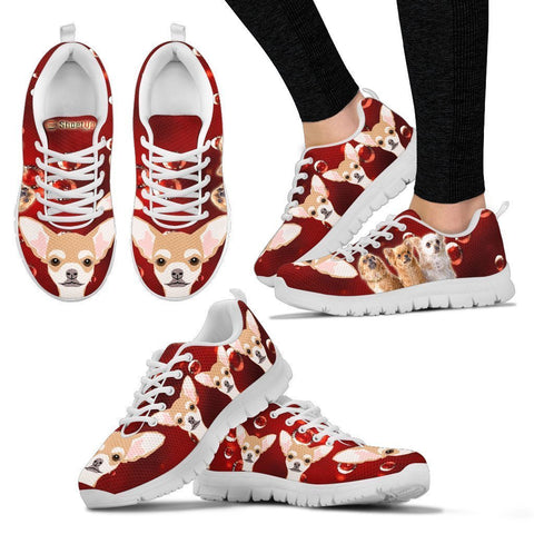 Chihuahua On Red-Women's Running Shoes-Free Shipping
