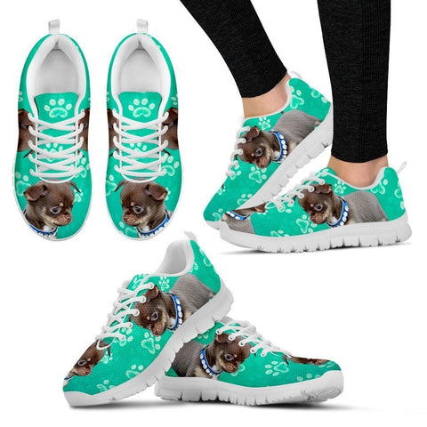 Paws Print Chihuahua (Black/White) Running Shoes For Women-Express Delivery