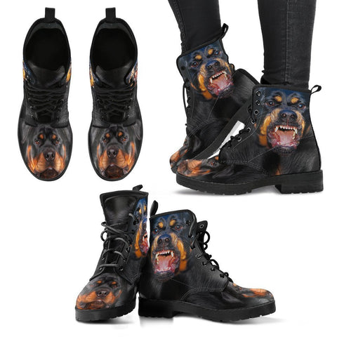 Rottweiler On Black Print Boots For Women- Express Shipping