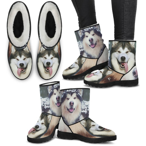 Laughing Alaskan Malmute Print Faux Fur Boots For Women