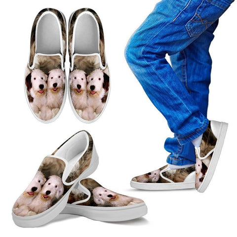 Old English Sheepdog Print Slip Ons For Kids- Express Shipping