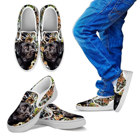 Amazing Black Labrador Print Slip Ons For Kids-Express Shipping
