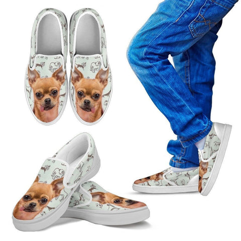 Chihuahua Print Slip Ons For Kids- Express Shipping