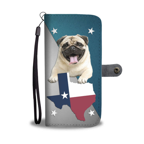 Cute Pug Print Wallet Case- Free Shipping-TX State