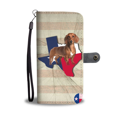 Cute Dachshund Dog Print Wallet Case-Free Shipping-TX State
