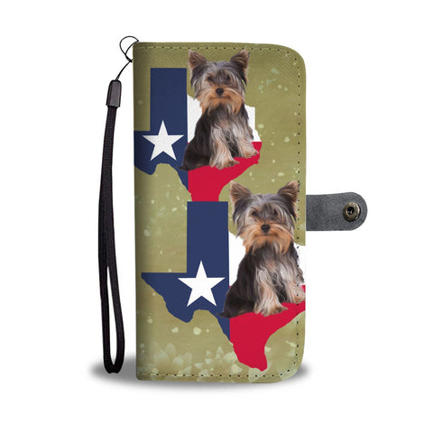 Cute Yorkshire Terrier Dog Print Wallet Case-Free Shipping-TX State