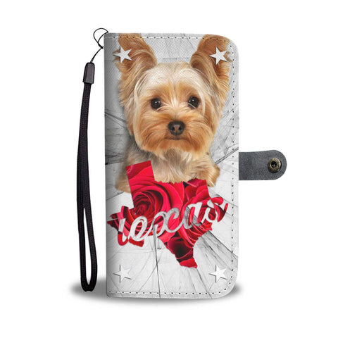 Cute Yorkshire Terrier Print Wallet Case-Free Shipping- TX State