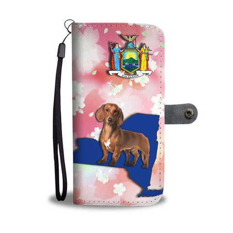 Cute Dachshund Dog Print Wallet Case-Free Shipping-NY State