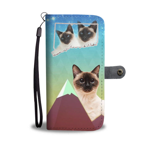 Siamese Cat Print Wallet Case-Free Shipping-CT State