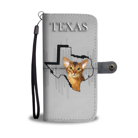 Abyssinian Cat Print Wallet Case-Free Shipping-TX State