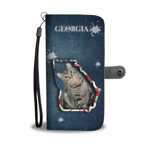 American Curl Cat Print Wallet Case-Free Shipping-GA State