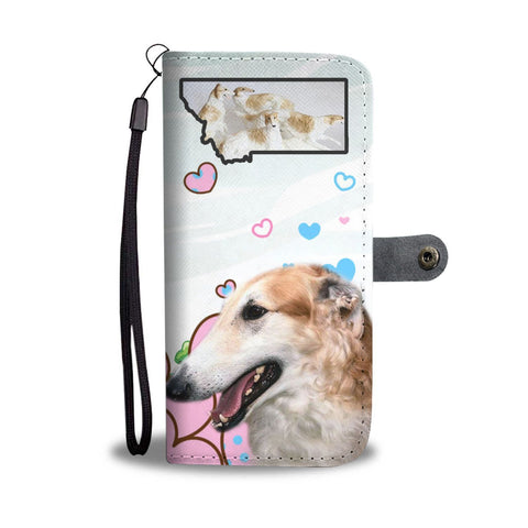 Borzoi Dog Print Wallet Case-Free Shipping-MT State
