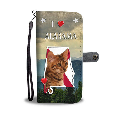 Bengal Cat Print Wallet Case-Free Shipping-AL State
