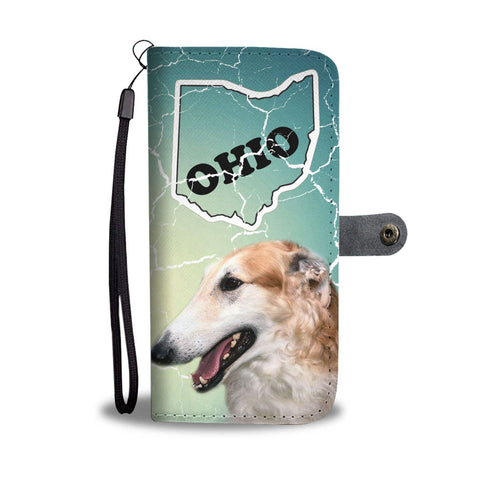 Borzoi Dog Print Wallet Case-Free Shipping-OH State