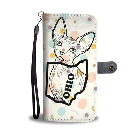 Cute Sphynx cat Print Wallet Case-Free Shipping-OH State
