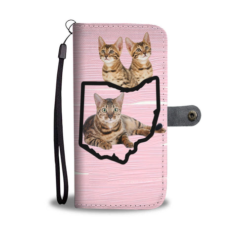 Bengal Cat Print Wallet Case-Free Shipping-OH State