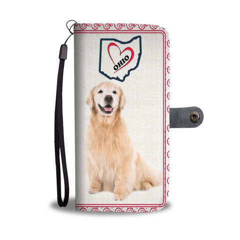 Golden Retriever Print Wallet Case-Free Shipping-OH State