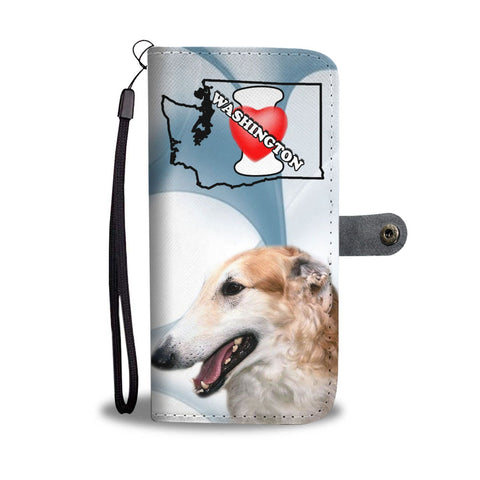 Borzoi Dog Print Wallet Case-Free Shipping-WA State