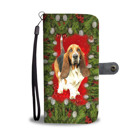 Basset Hound Dog Christmas Print Wallet Case-Free Shipping