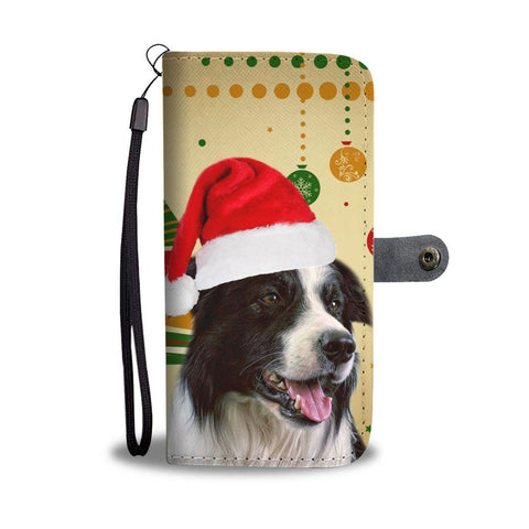 Cute Border Collie Christmas Print Wallet Case-Free Shipping