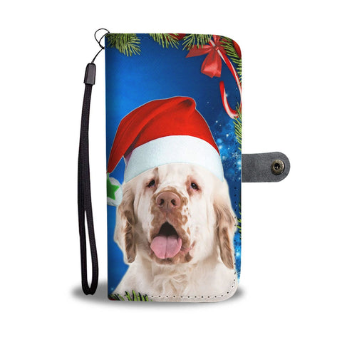 Clumber Spaniel On Christmas Print Wallet Case-Free Shipping