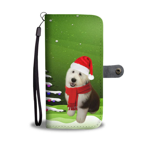Old English Sheepdog Christmas Green Print Wallet Case-Free Shipping