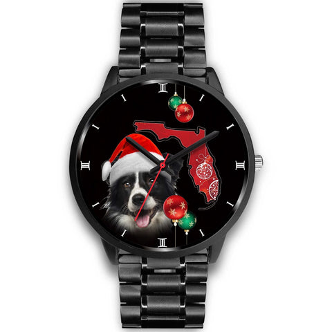 Cute Border Collie On Christmas Florida Wrist Watch-Free Shipping