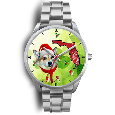 Norwegian Lundehund On Christmas Florida Silver Wrist Watch-Free Shipping