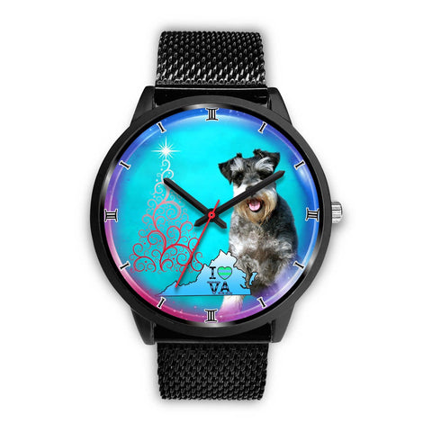 Amazing Miniature Schnauzer Dog Virginia Christmas Special Wrist Watch-Free Shipping