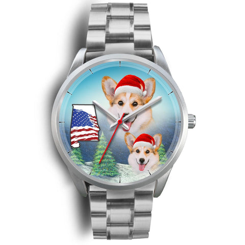 Pembroke Welsh Corgi Alabama Christmas Wrist Watch-Free Shipping