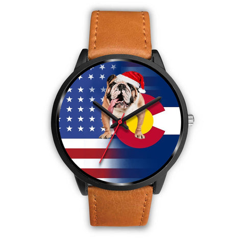 Bulldog Dog Colorado Christmas Special Wrist Watch-Free Shipping