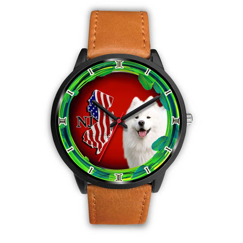 Cheerful Samoyed Dog New Jersey Christmas Special Wrist Watch-Free Shipping