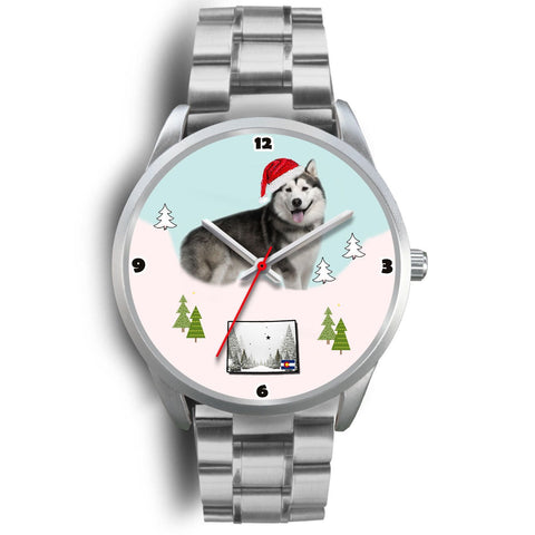 Alaskan Malamute Dog Colorado Christmas Special Wrist Watch-Free Shipping
