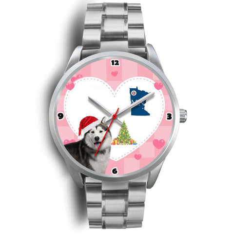 Alaskan Malamute Dog Minnesota Christmas Special Wrist Watch-Free Shipping