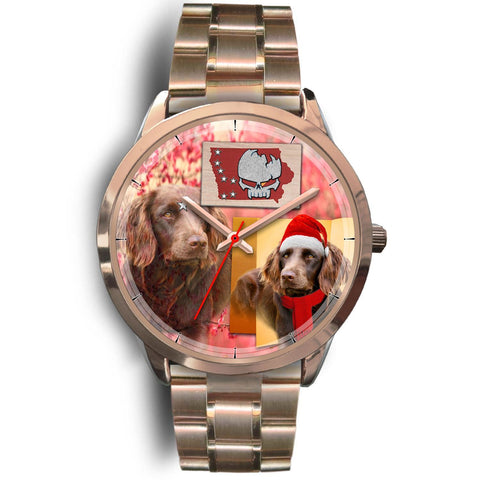 Boykin Spaniel Iowa Christmas Special Golden Wrist Watch-Free Shipping