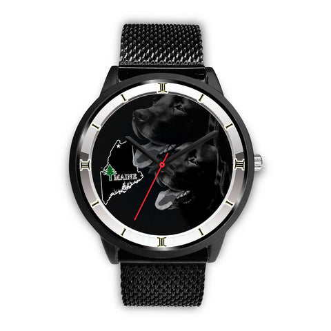 Black Labrador Dog Maine Christmas Special Wrist Watch-Free Shipping