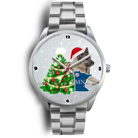 Norwegian Elkhound Dog Minnesota Christmas Special Wrist Watch-Free Shipping