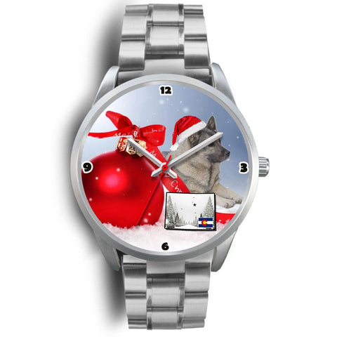 Norwegian Elkhound Dog Colorado Christmas Special Wrist Watch-Free Shipping