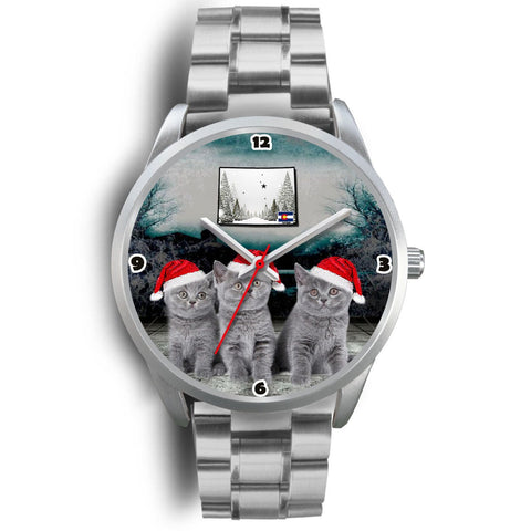 Russian Blue Cat Colorado Christmas Special Wrist Watch-Free Shipping
