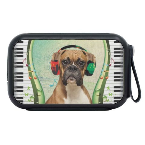 Boxer Dog With Headphone Print Bluetooth Speaker