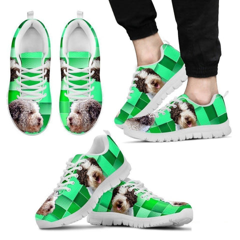 Lagotto Romagnolo Dog Print (Black/White) Running Shoes For Men-Free Shipping Limited Edition-Paww-Printz-Merchandise