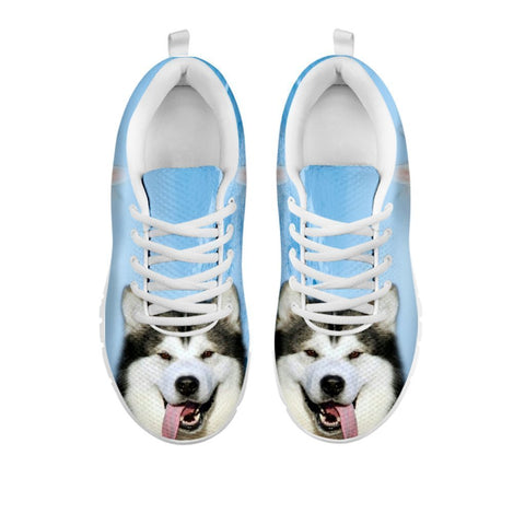 Laughing Alaskan Malamute Print Sneakers For Women- Free Shipping-For 24 Hours Only
