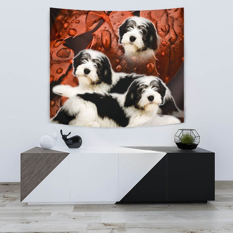 Cute Polish Lowland Sheepdog Print Tapestry-Free Shipping